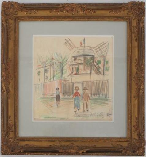 Maurice UTRILLO - Disegno Acquarello - The Moulin de la Galette and the wasteland