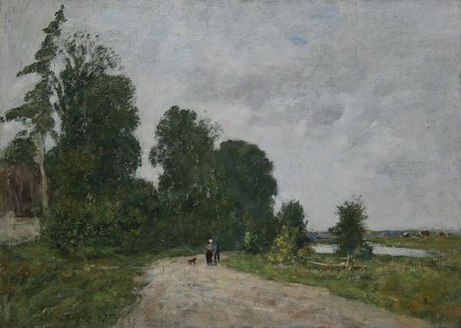 Eugène BOUDIN - Painting - Chemin animé, bord de rivière