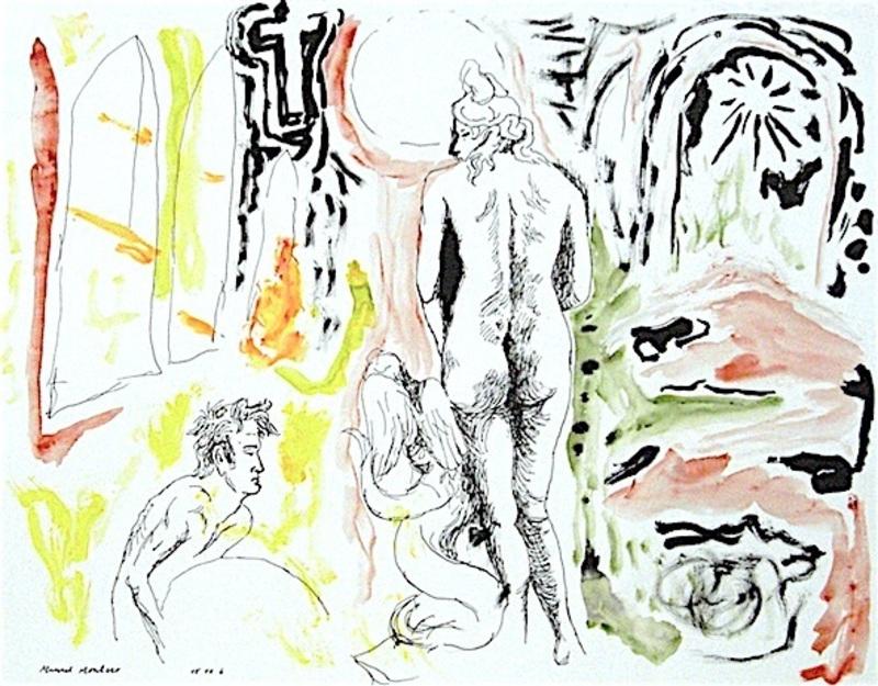 Manuel MONTERO - Dessin-Aquarelle - Le dos d'Aphrodite