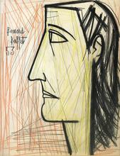 Bernard BUFFET - Dessin-Aquarelle - PROFIL DE FEMME