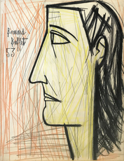 Bernard BUFFET - Drawing-Watercolor - PROFIL DE FEMME