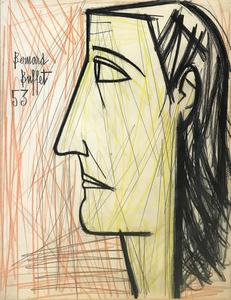 Bernard BUFFET - Dibujo Acuarela - PROFIL DE FEMME