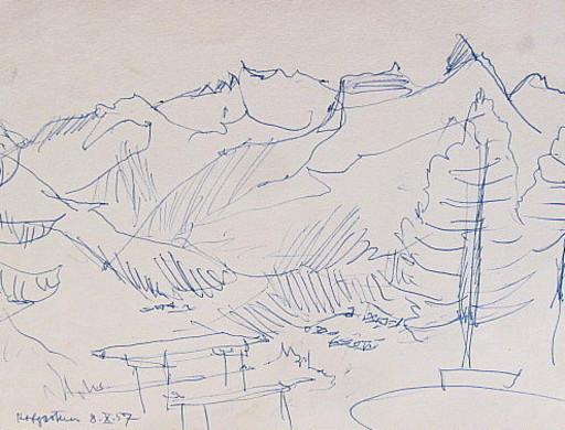 Erich HARTMANN - Disegno Acquarello - Hofgarten.