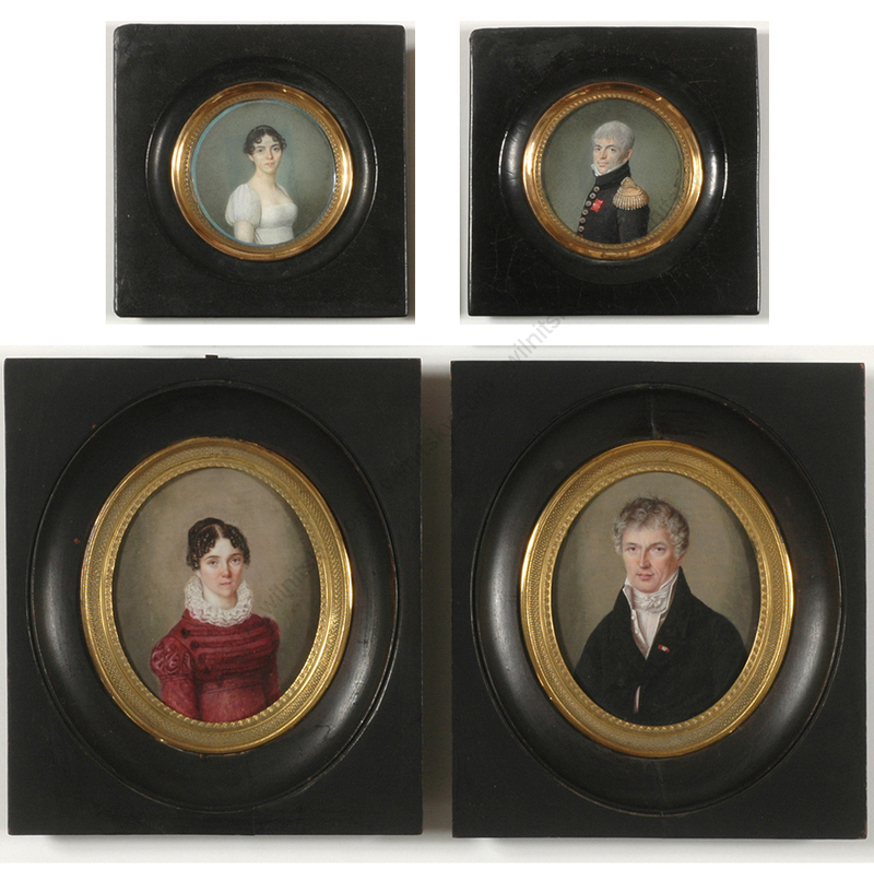 "Joseph BOZE - Miniatur - Joseph Boze and Mme de Mirbel ""Abel Mazel and his wife"", fou"
