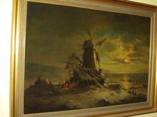 August SCHLÜTER - Painting - Alte Mühle mit Zigeunern am Feuer