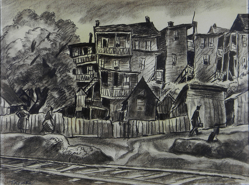 Abram TROMKA - Drawing-Watercolor - One Third Ill Housed