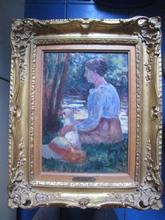 Maximilien LUCE (1858-1941) - FEMME ET SON CHIEN AU BORD DE L EAU 1905