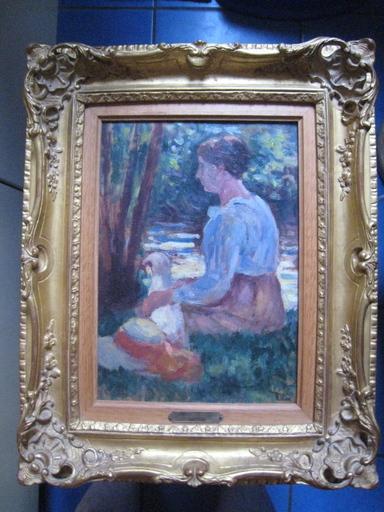 Maximilien LUCE - Pintura - FEMME ET SON CHIEN AU BORD DE L EAU 1905