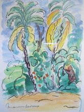 Maurice SAVREUX - Drawing-Watercolor - Luxuriante végétation.