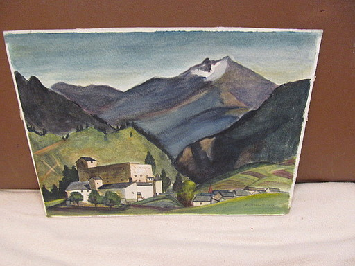 Walter KOHLHOFF - Disegno Acquarello - Burg in den Alpen ( Hohenwerfen ?)