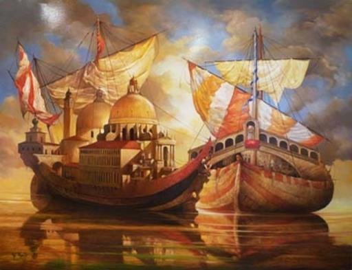 Serge VAN KHACHE - Pittura - Les nefs du grand canal