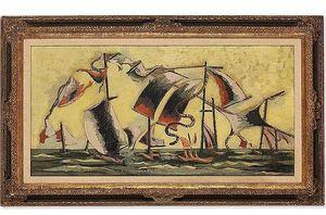 Jean LURÇAT - Peinture - La Bataille de Trafalgar