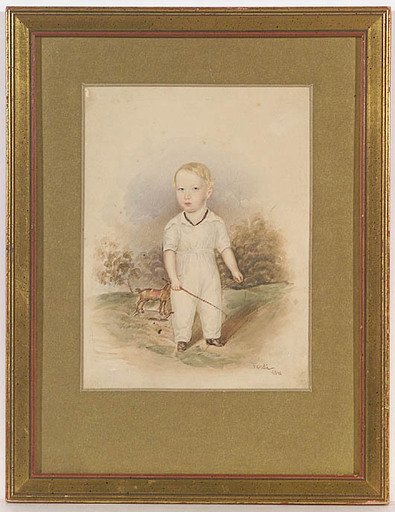 Peter FENDI - Drawing-Watercolor -  Portrait of a Boy
