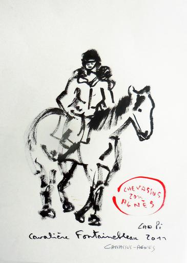 Jean-Pierre CHEVASSUS-AGNES - Dessin-Aquarelle - cavalière dans la forêt de FONTAINEBLEAU (77)