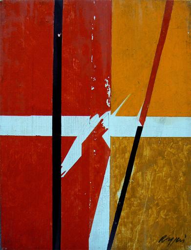 Piero RUGGERI - Painting - Due righe rosso e nera