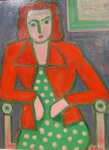 Rolf DIENER - Painting - Frau in rot mit gepunktetem Kleid.