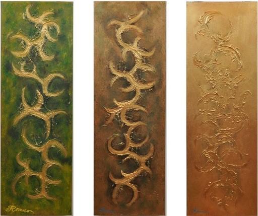 Romeo DOBROTA - Painting - Emerald, Copper, Gold