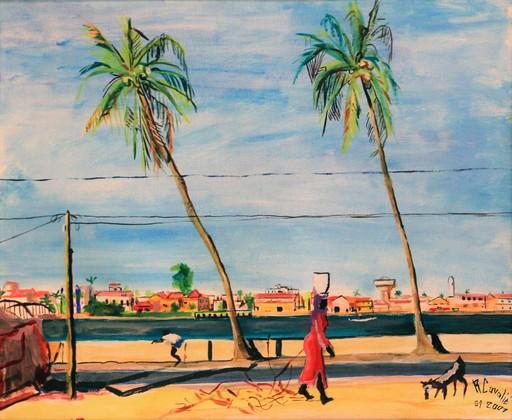 R.CAVALIÉ - Peinture - Saint Louis. Le fleuve Sénégal.