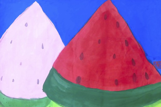 TING Walasse - Peinture - Two pieces of watermelon