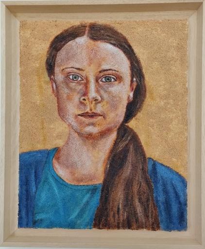 Jean Charles ZIAI - Painting - portrait de Greta Thunberg