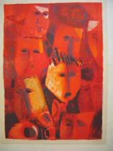 Roger MÜHL - Grabado - Les masques,1987.
