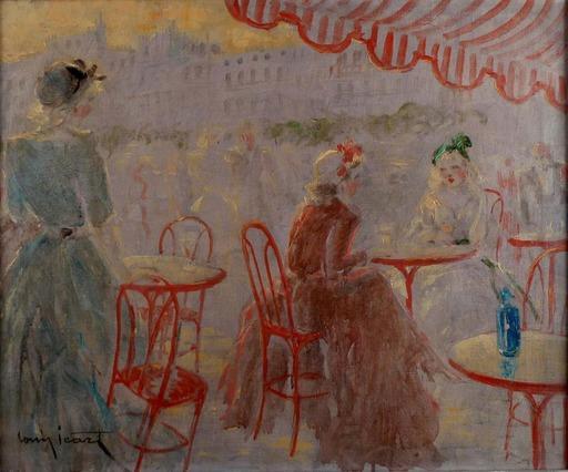Louis ICART - Painting - Café Place Blanche