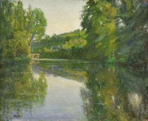 Louis HAYET - Painting - Le Petit Pont Traversant la Rivière