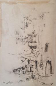 Ya'acov ELCHANANI - Drawing-Watercolor - Jaffa