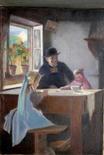 Eric NORSELIUS - Painting - Grandfather of two girls in Brittany