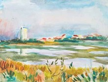 Willy EISENSCHITZ - Drawing-Watercolor - Teich bei Carnon