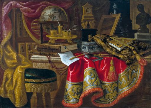 Antonio TIBALDI - Pittura - NATURA MORTA CON LIBRI E STRUMENTI SCIENTIFICI