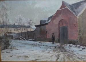 Charles WARLAND - Pittura - cour de ferme sous la neige