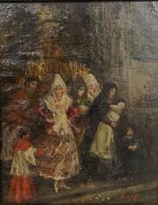 Eugenio LUCAS Y VILLAAMIL - Pintura - A la salida de la iglesia