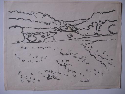 Pierre PALUÉ - Dessin-Aquarelle - paysage des cahavannes