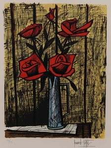 Bernard BUFFET - Grabado - Bouquet de rose