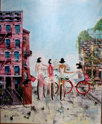 "Frédérique LOMBARD MOREL - Pittura - ""RED BIKES"""