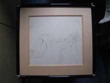 Jean FAUTRIER - Dibujo Acuarela - FEMME NUE  ALLONGEE  1945