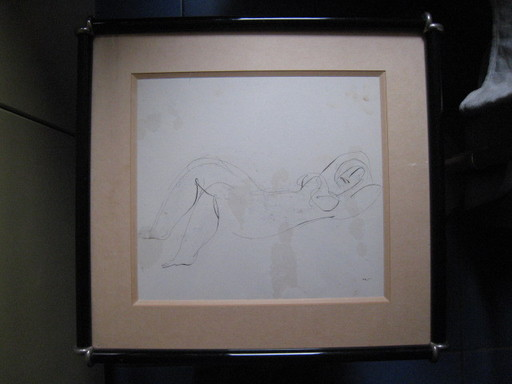 Jean FAUTRIER - Drawing-Watercolor - FEMME NUE  ALLONGEE  1945
