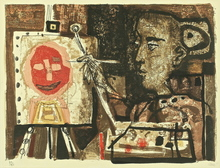 Antoni CLAVÉ - Grabado - Femme peintre