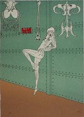 Maurice HENRY - Estampe-Multiple -  Arret des trains