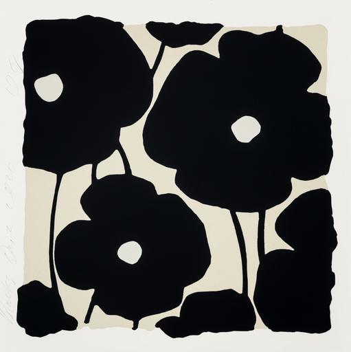 Donald SULTAN - Druckgrafik-Multiple - Three Poppies (Black)