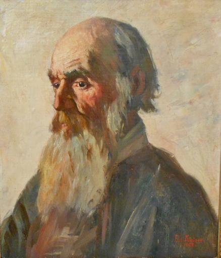 Edouard I KAISER - Painting - Portrait de vieil homme de profil.