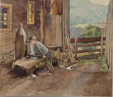 """Eduard SANDER - Drawing-Watercolor - """"Summer Day"""" by Eduard Sander, 1912"""