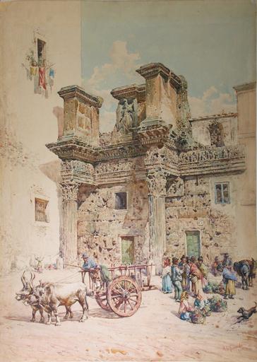 Mariano DE FRANCESCHI - Drawing-Watercolor - Roma, le colonnacce del foro di Nerva