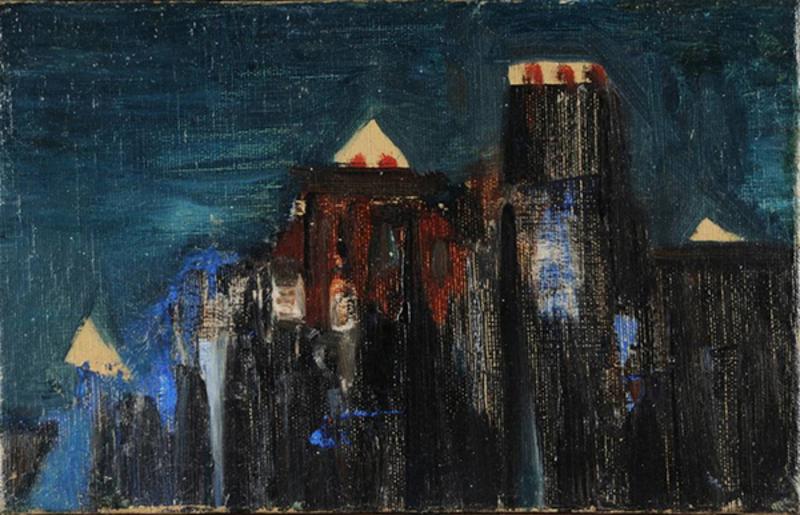 奥斯卡•多明古斯 - 绘画 - La ville, la nuit