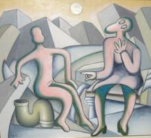 Enrico BAJ - Peinture - Pandione e Zauzippe (seconda versione)
