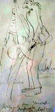 Mikhail LARIONOV - Drawing-Watercolor - Artist Yakulov at the street of Paris