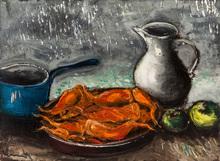 Maurice DE VLAMINCK - Pintura - Still Life with Red Fish