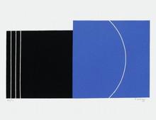 Jo DELAHAUT - Grabado - Composition bleu et noir