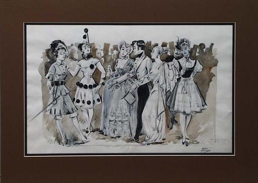 "Gret KALOUS-SCHEFFER - Drawing-Watercolor - ""Ball"", Fashion Design"